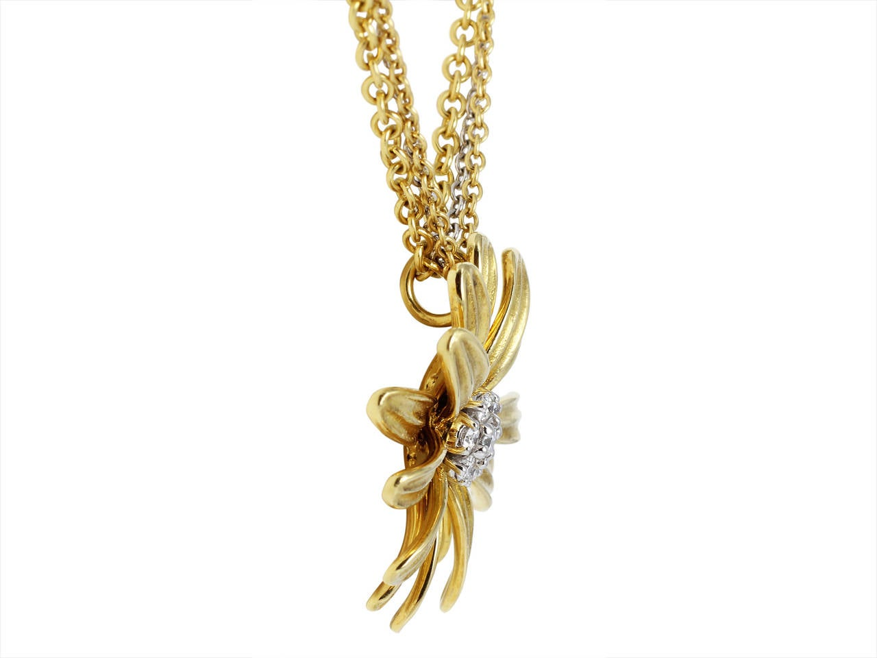Contemporary Diamond Gold Flower Pendant For Sale