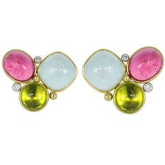 Cabochon Gem Diamond Gold Earrings