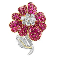 Oscar Heyman Ruby and Diamond Brooch