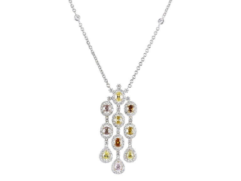 2.68 Carat Fancy Multi Color Diamond gold Drop Pendant In As new Condition For Sale In Chestnut Hill, MA