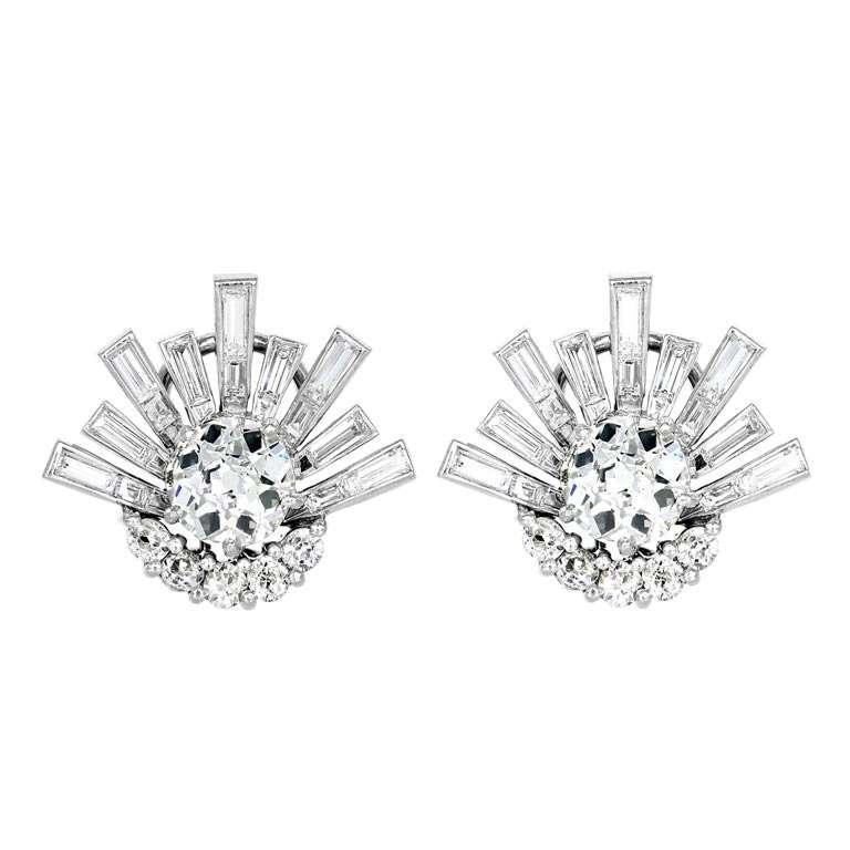 Platinum Antique Cushion Cut Diamond Earrings 1