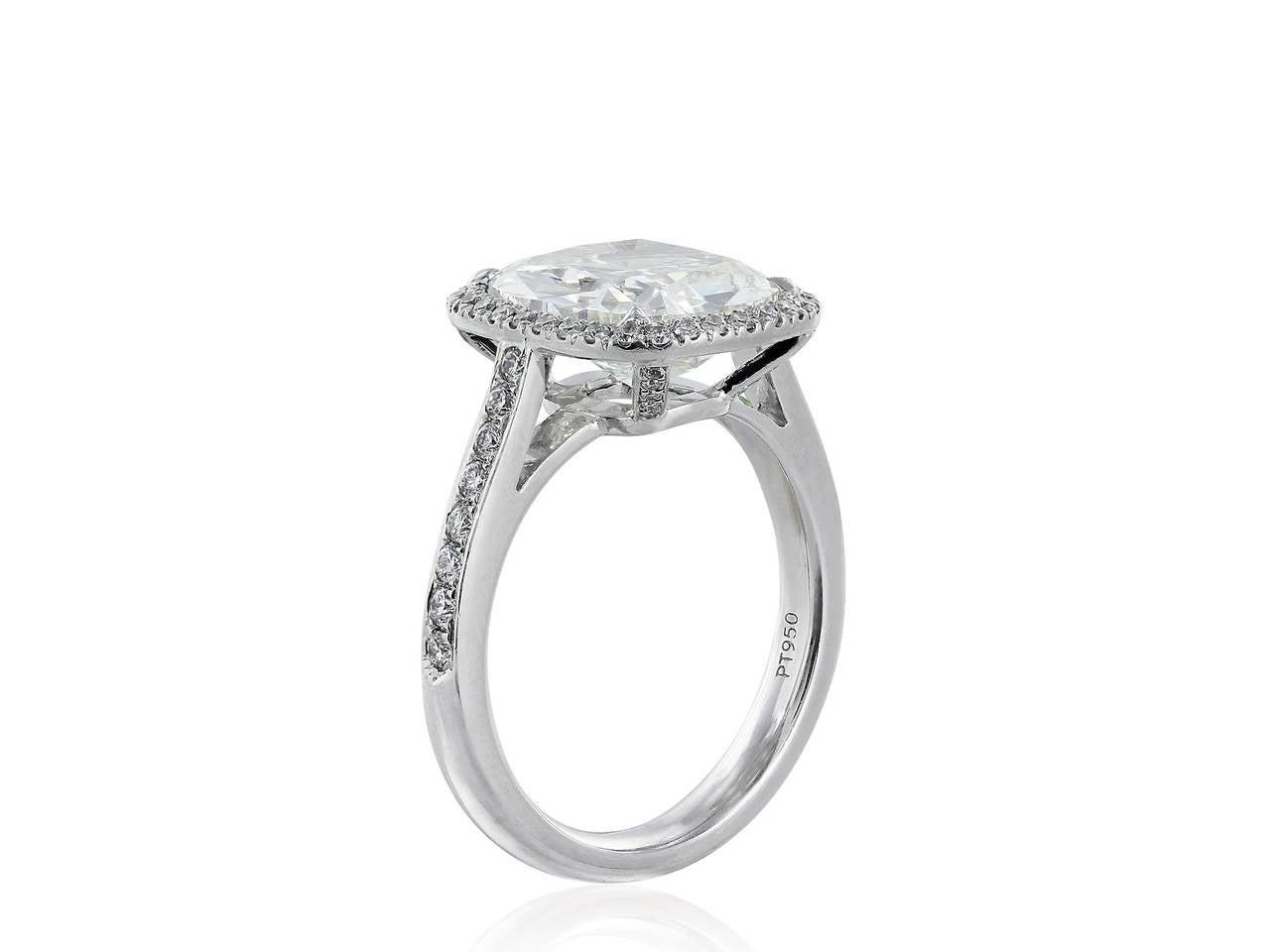4.01 Carat GIA Cert Cushion Diamond Platinum Solitaire Engagement Ring 2