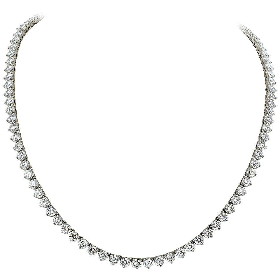 46 Carat Opera Length Diamond Platinum Necklace 1