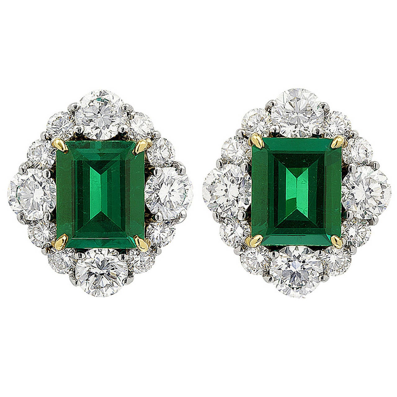 Colombian Emerald Diamond Gold Platinum Earrings