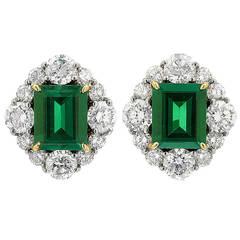 Colombian Emerald Diamond Gold Platinum Earrings