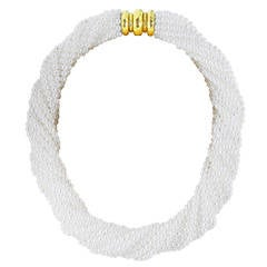 16 Strand Freshwater Pearl Gold Torsade Necklace
