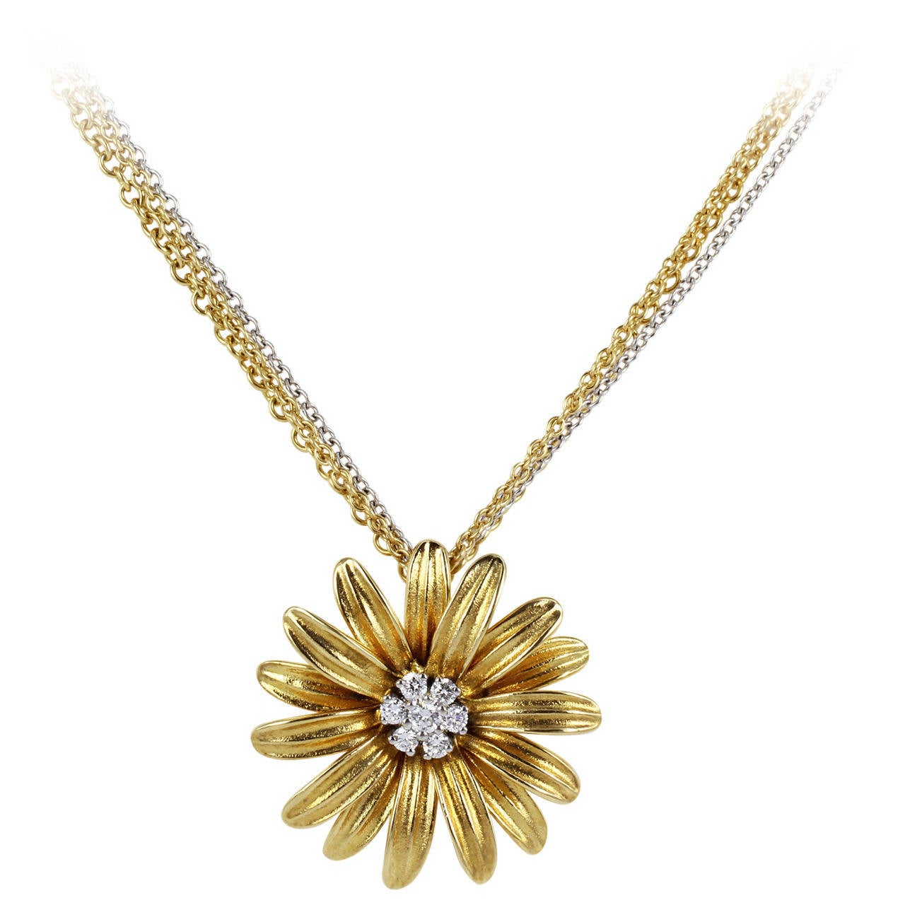 Diamond Gold Flower Pendant For Sale