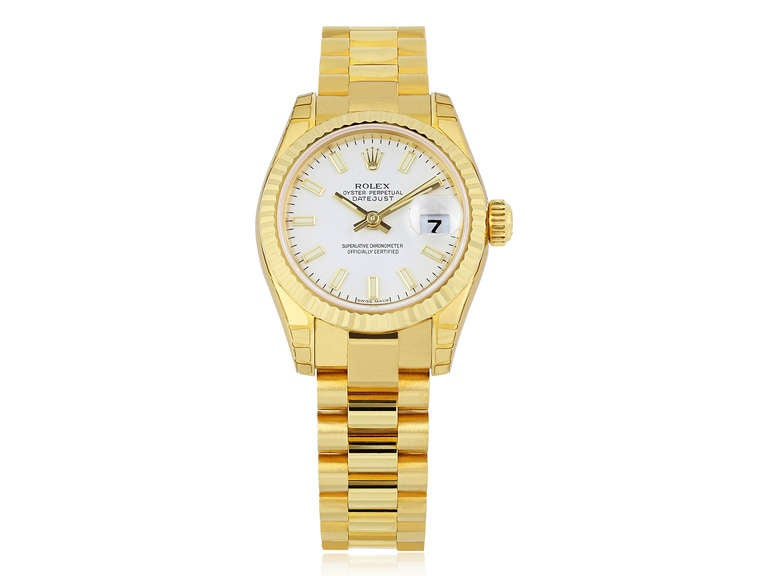 Rolex Ladies Yellow Gold Datejust President oyster perpetual Wristwatch 2