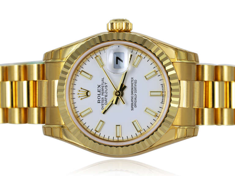 Rolex Ladies Yellow Gold Datejust President oyster perpetual Wristwatch 3