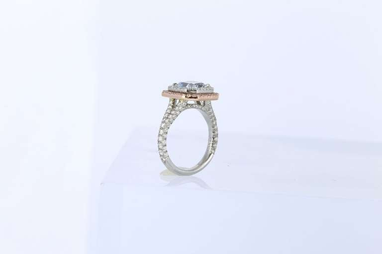 2.44 Carat GIA Cert Natural Blue Radiant Cut Diamond Gold Platinum Ring 3