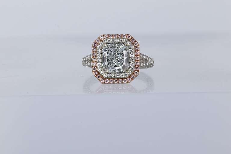 2.44 Carat GIA Cert Natural Blue Radiant Cut Diamond Gold Platinum Ring 2