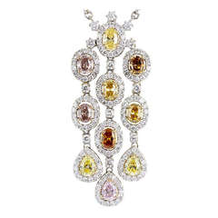 2.68 Carat Fancy Multi Color Diamond gold Drop Pendant