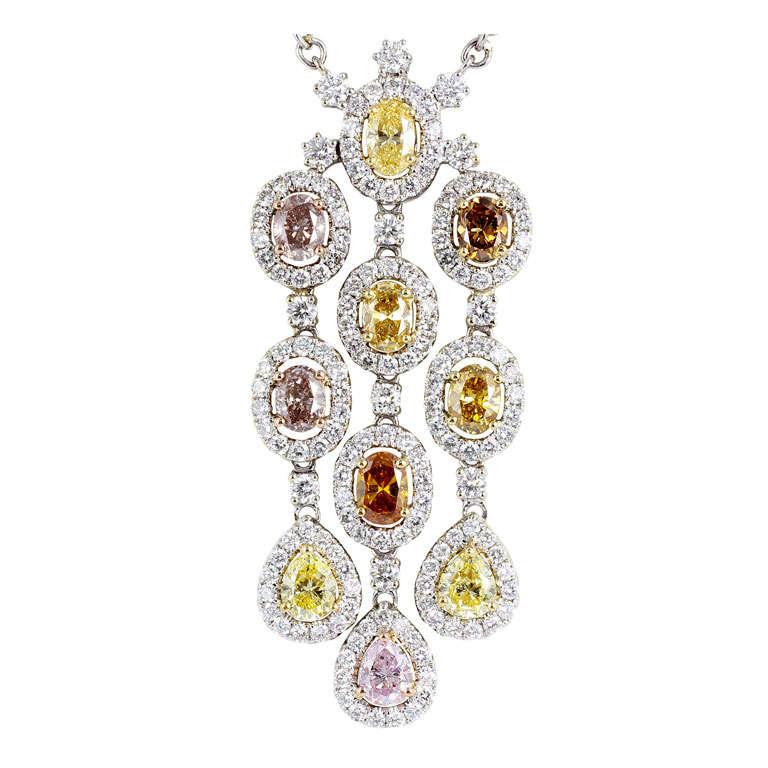 2.68 Carat Fancy Multi Color Diamond gold Drop Pendant For Sale