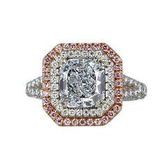 2.44 Carat GIA Cert Natural Blue Radiant Cut Diamond Gold Platinum Ring