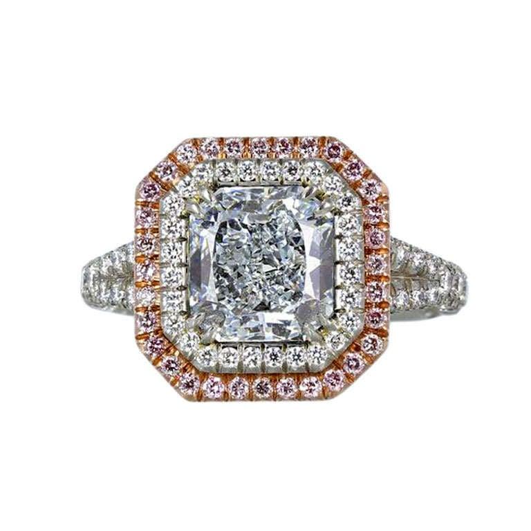 2.44 Carat GIA Cert Natural Blue Radiant Cut Diamond Gold Platinum Ring 1