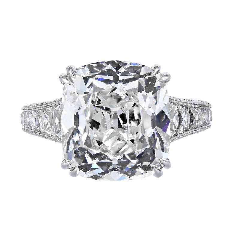 10 05 Carat Cushion Cut GIA H SI1 Cert Diamond Ring at 1stdibs