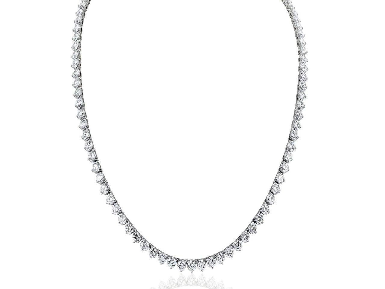 46 Carat Opera Length Diamond Platinum Necklace 2