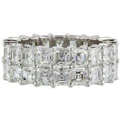 8.61 Carat Asscher Diamond Platinum Double Row Eternity Band