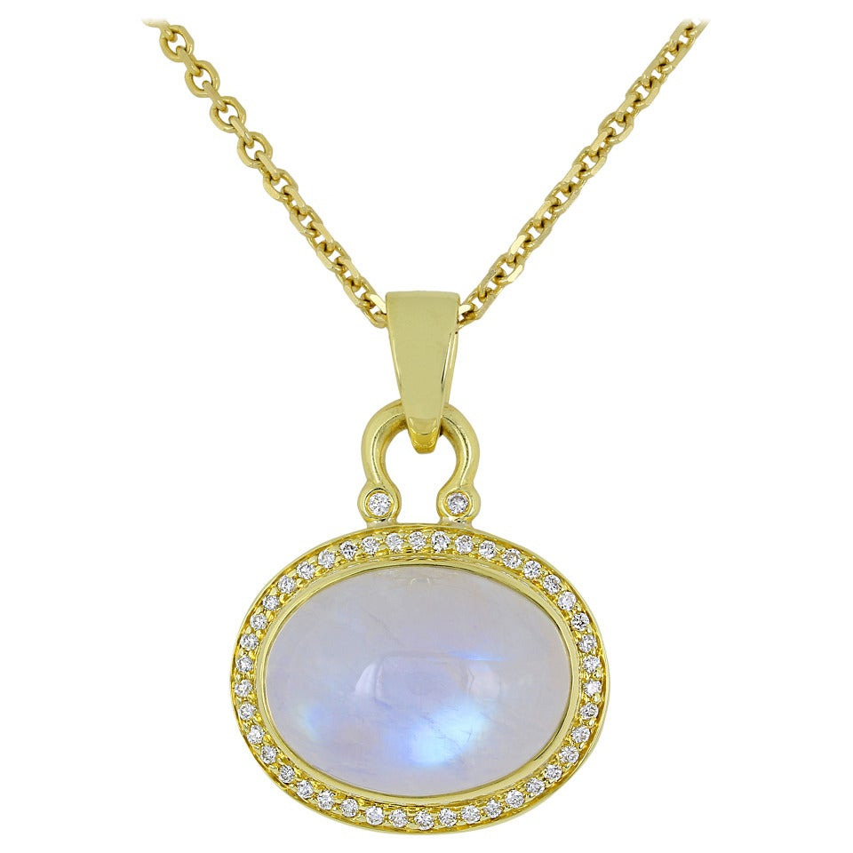 Moonstone Diamond Gold Pendant