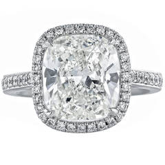 4.01 Carat GIA Certified Cushion Diamond Platinum Solitaire Engagement Ring