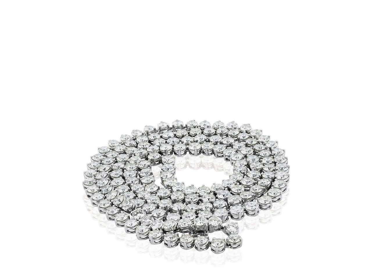 46 Carat Opera Length Diamond Platinum Necklace 4