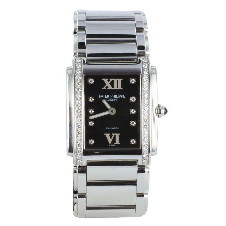 Patek Philippe Tiffany & Co. Stainless Steel Diamond Twenty-4 Quartz Wristwatch