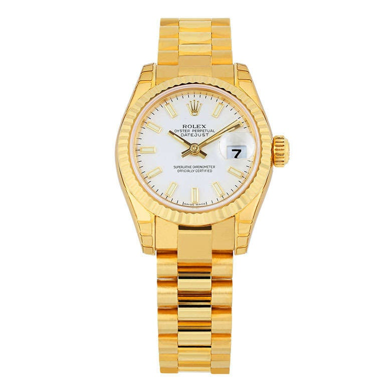 Rolex Ladies Yellow Gold Datejust President oyster perpetual Wristwatch