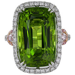 14.63 Carat Cushion Cut Peridot Pink White Diamond Ring