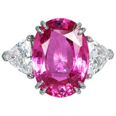 10.01 Carat Pink Sapphire Diamond Platinum Three Stone Ring