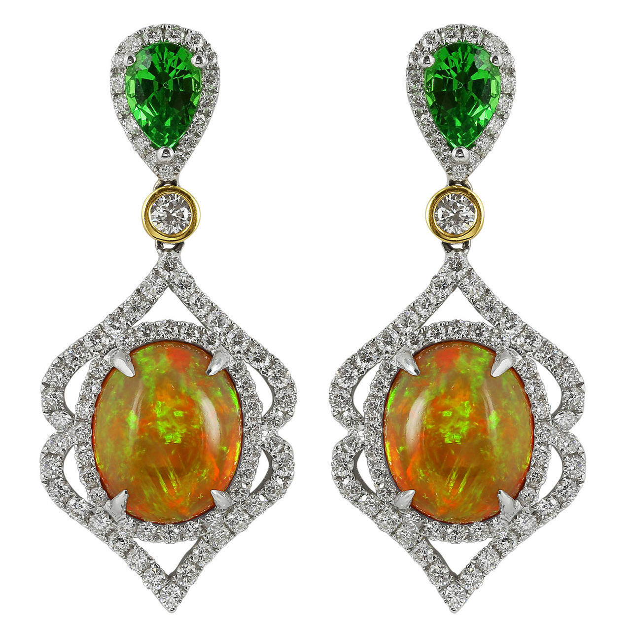 Opal Tsavorite Garnet Diamond Gold Drop Earrings