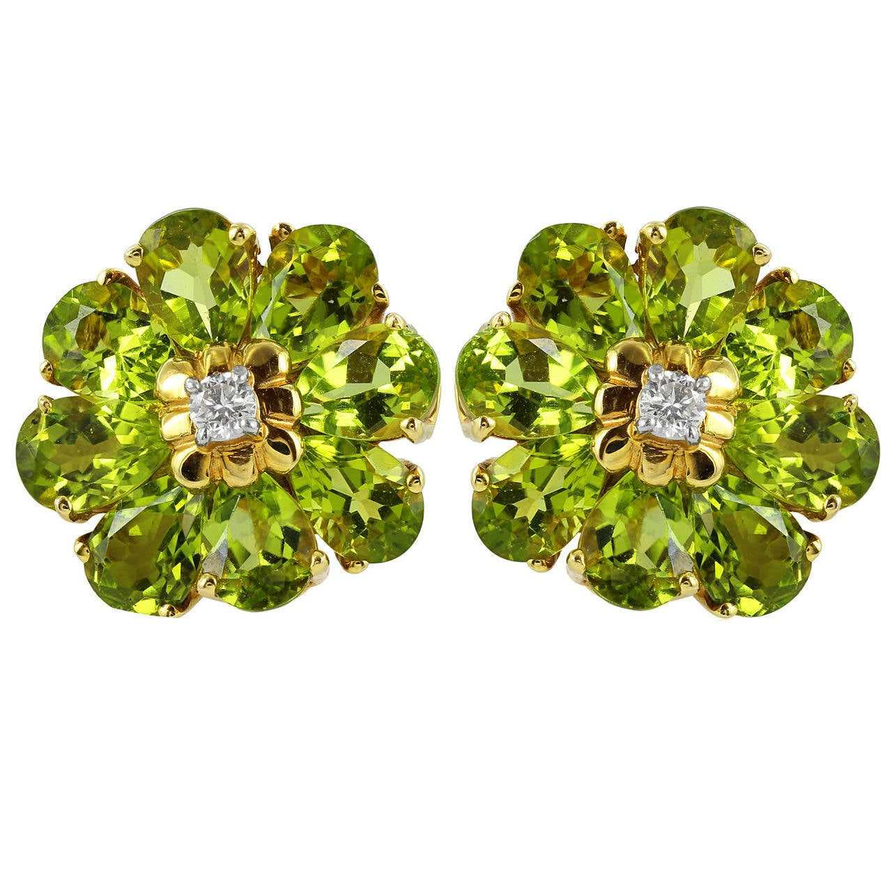 Peridot Diamond Gold Flower Earrings For