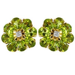 Peridot Diamond Gold Flower Earrings