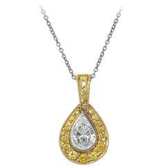.92 Carat GIA Cert Pear Shaped Diamond Gold Platinum Pendant