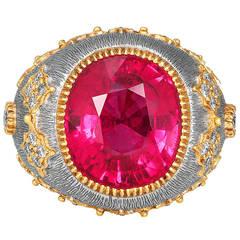 10.67 Carat Pink Tourmaline Diamond Gold Dome Ring