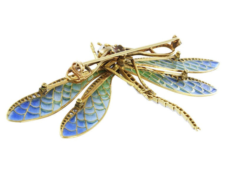 Antique Style Plique-a-jour Cut Diamond gold Dragonfly Pin 3
