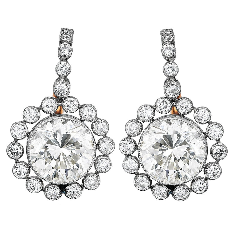 3.19 Carat Diamond Cluster Drop Earrings