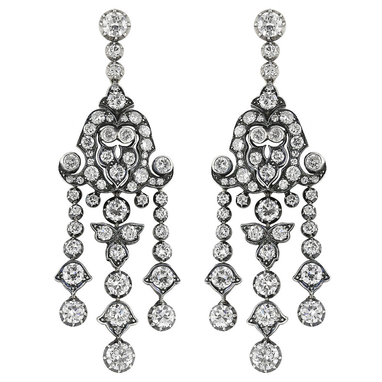Diamond Silver Gold Chandelier Earrings
