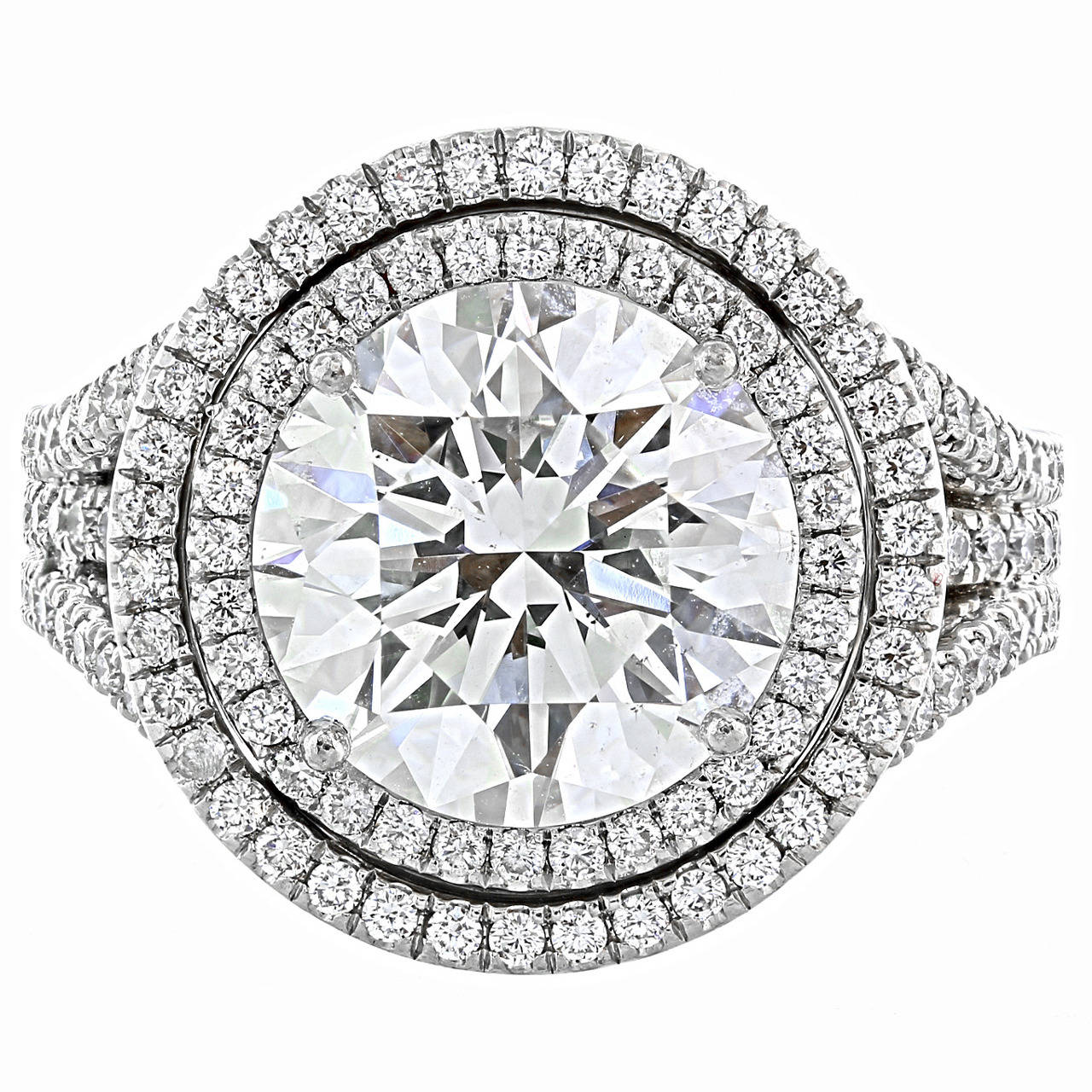 DeBeers GIA Certified 5.03 Carat I/SI1 Round Brilliant Cut Diamond Ring