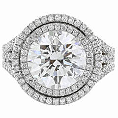 DeBeers GIA Certified 5.03 Carat I/SI1 Round Brilliant Cut Diamond Ring