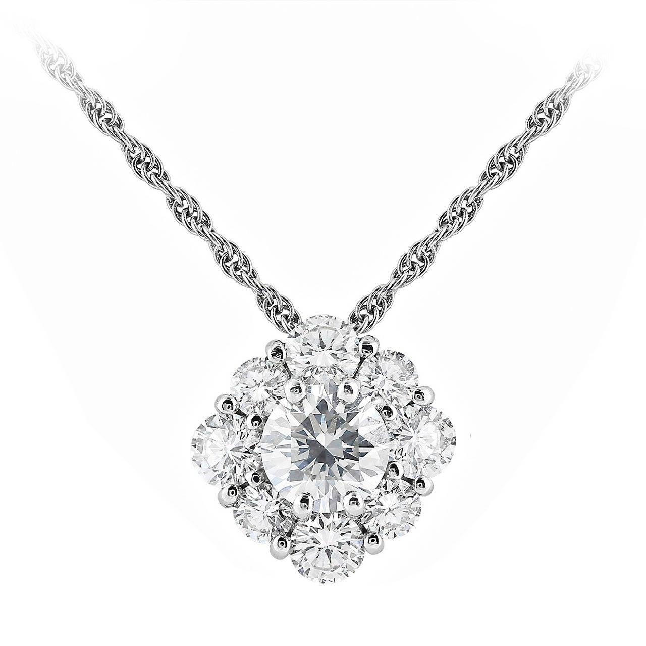 1.64 Carat Diamond Cluster Pendant 1