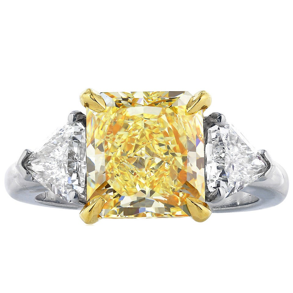 3 64 Carat Fancy Yellow Diamond Ring For Sale at 1stdibs