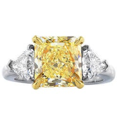 3.64 Carat Fancy Yellow Diamond Ring