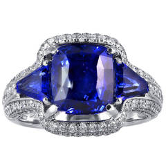4.73 Carat Sapphire Diamond Gold Three Stone Ring
