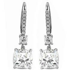 Harry Winston 6.11 Carat Diamond Platinum Dangle Earrings
