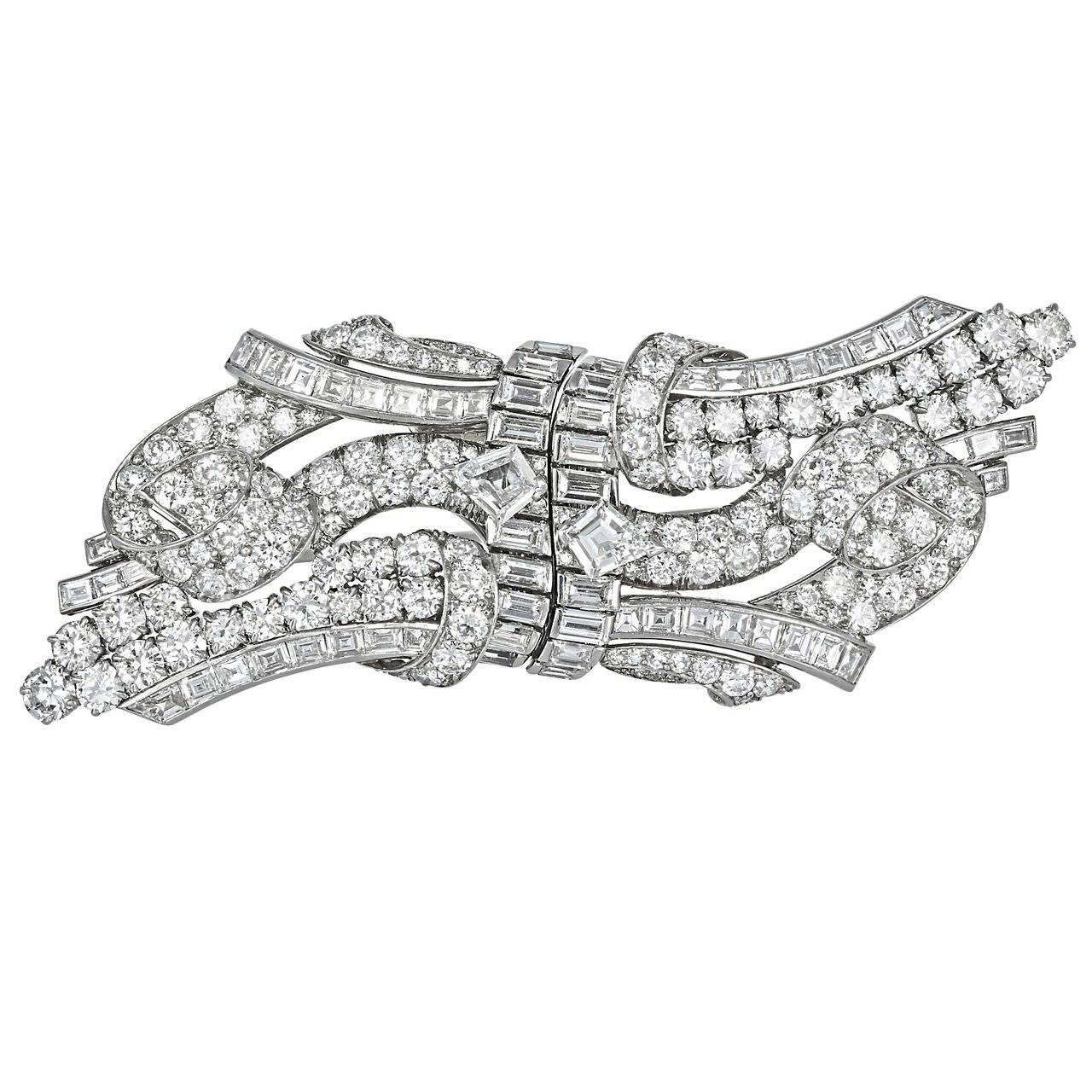 Art Deco 15 Carat Diamond Double Clip Brooch