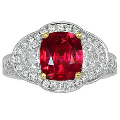 2.55 Carat Ruby Diamond Gold Three-Stone Ring