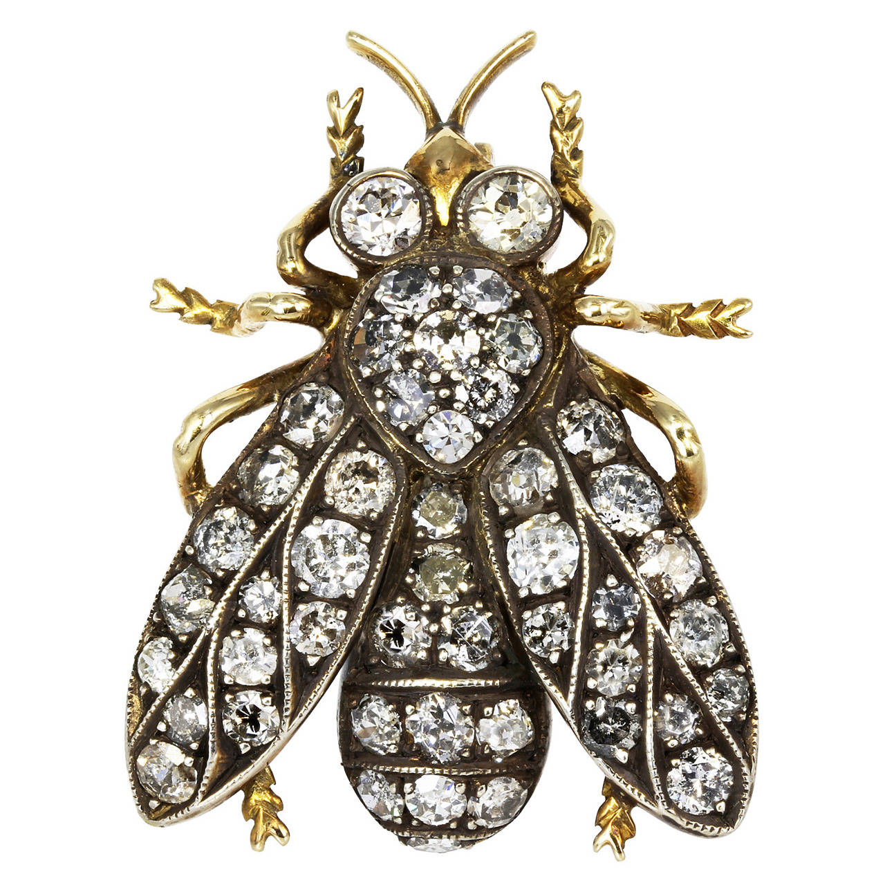 Victorian Diamond Gold Bee Brooch For Sale