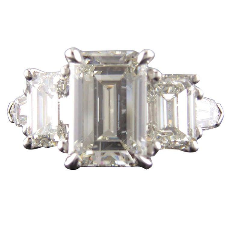 Platinum 3 Stone Emerald Cut 5 12 Carat Diamond Ring at 1stdibs