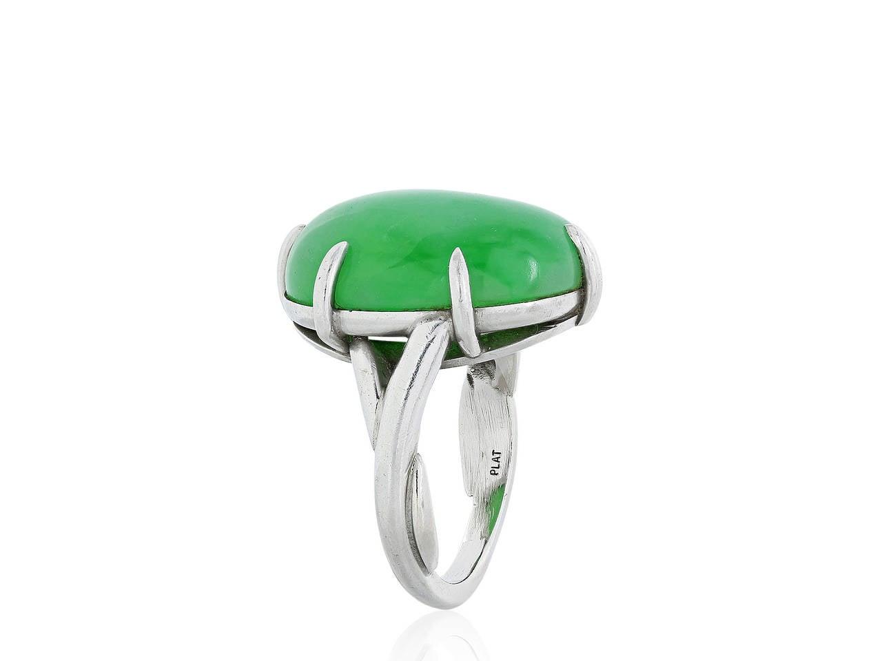 Jadeite Jade Platinum Solitaire Ring 2