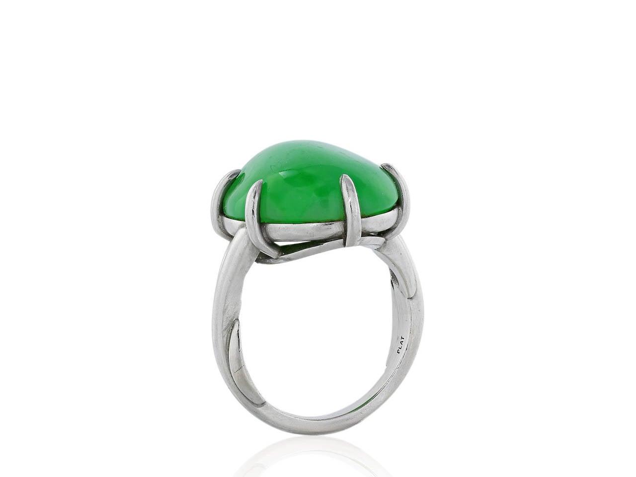 Jadeite Jade Platinum Solitaire Ring 3